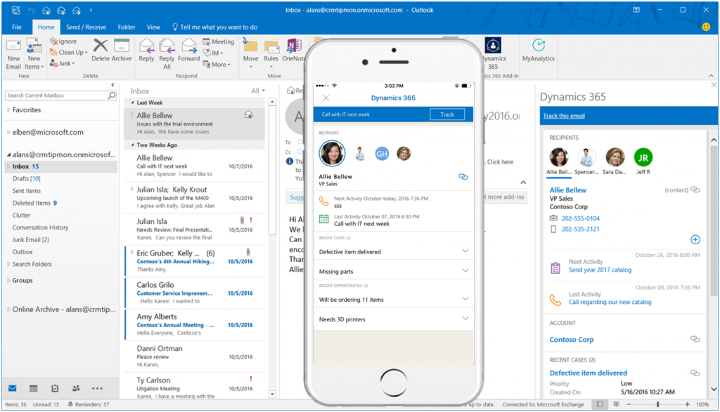 dynamics 365 for outlook