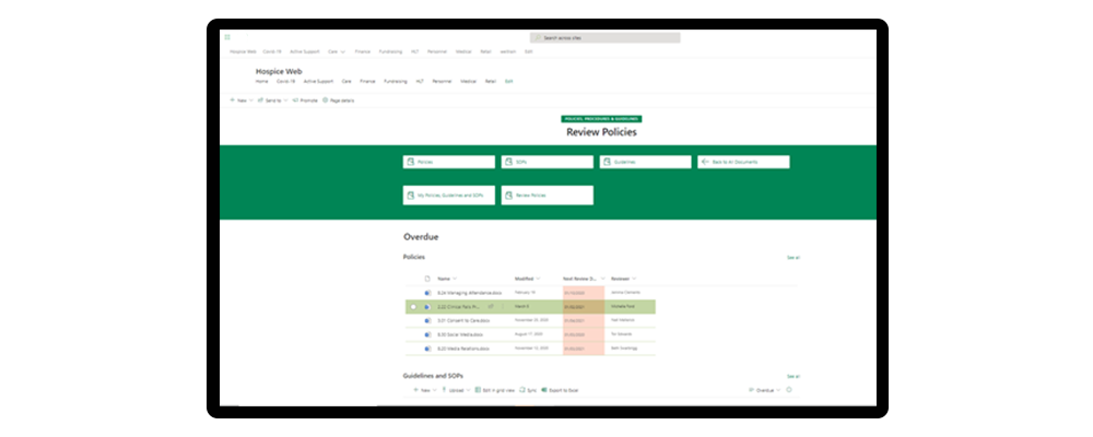sharepoint document management system for hospice